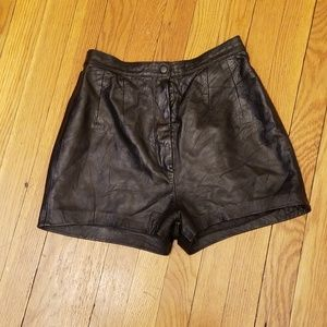 REFORMATION HIGH WAIST LEATHER SHORTS